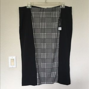 Lane Bryant Black/White Herringbone Ponte Skirt